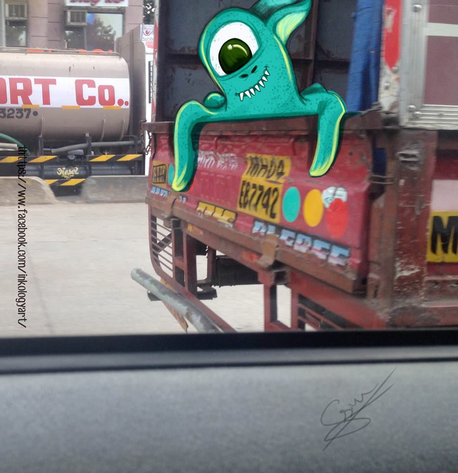 In pictures: Artist adds 'monsters' to daily life in Mumbai 2