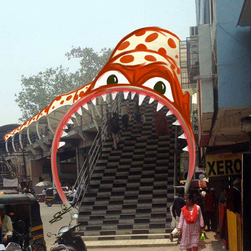 In pictures: Artist adds 'monsters' to daily life in Mumbai 7
