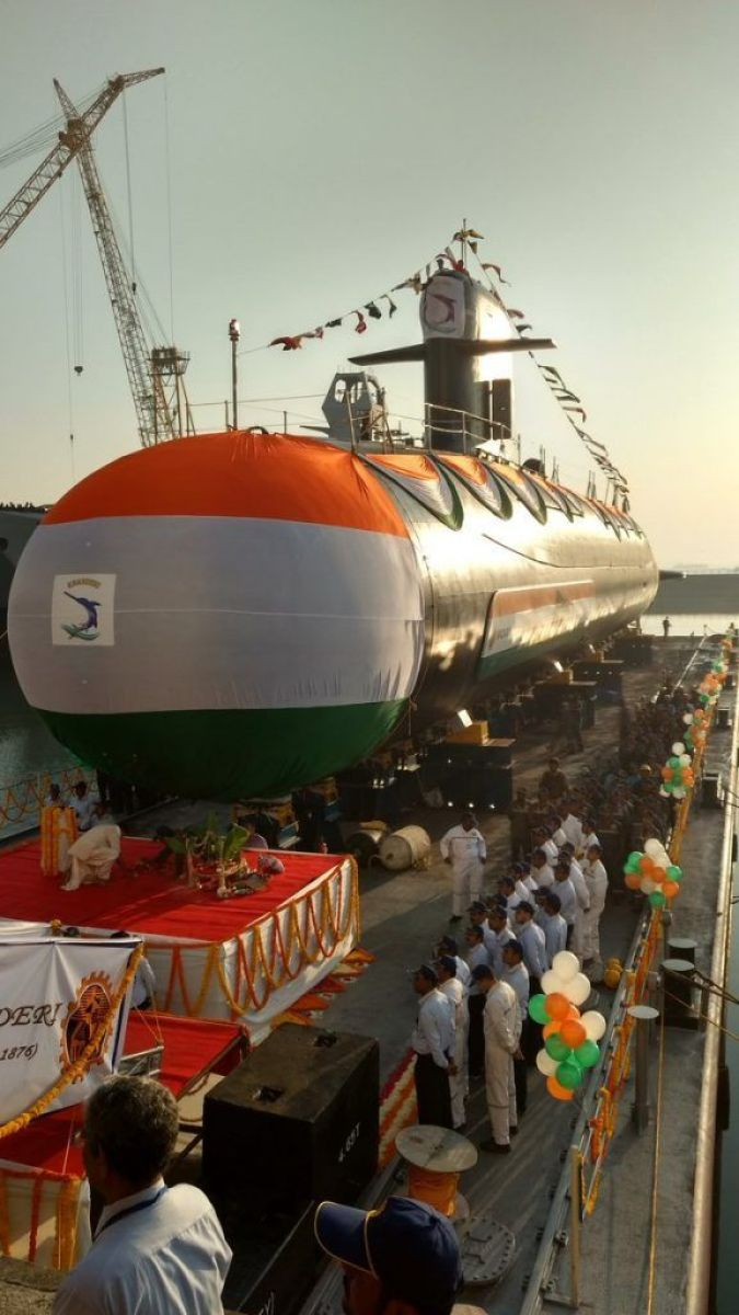 Indian Navy's second Scorpene class submarine 'INS Khanderi' launched at Mazgaon, Mumbai 3