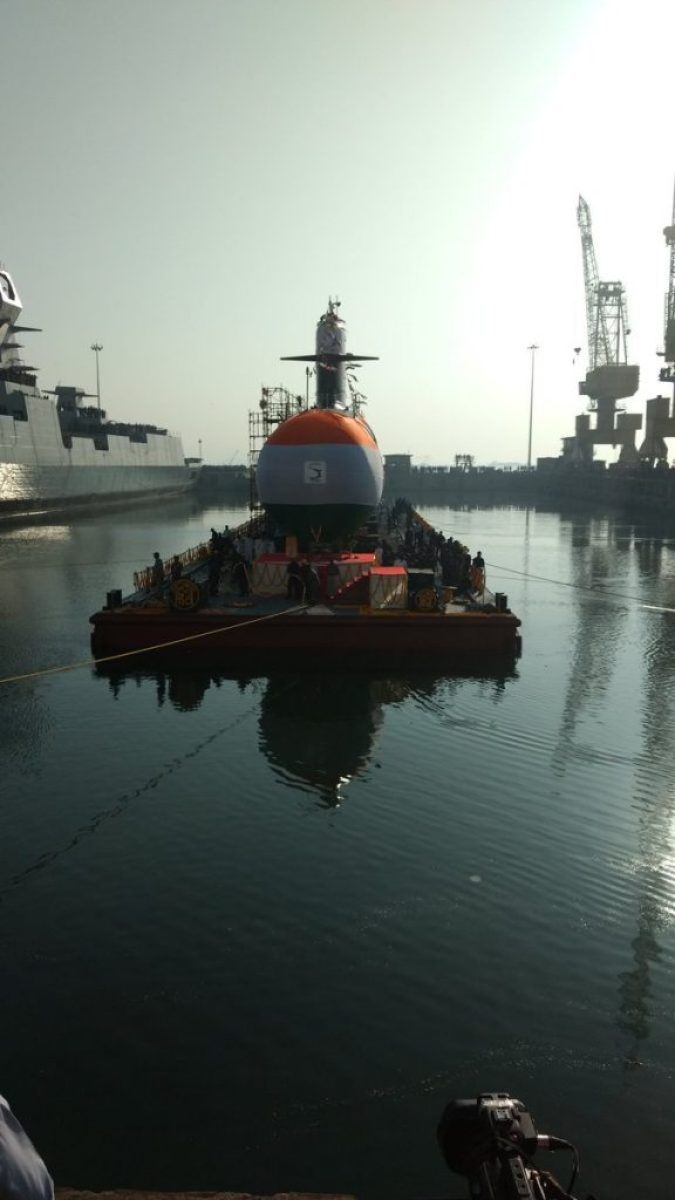 Indian Navy's second Scorpene class submarine 'INS Khanderi' launched at Mazgaon, Mumbai 4