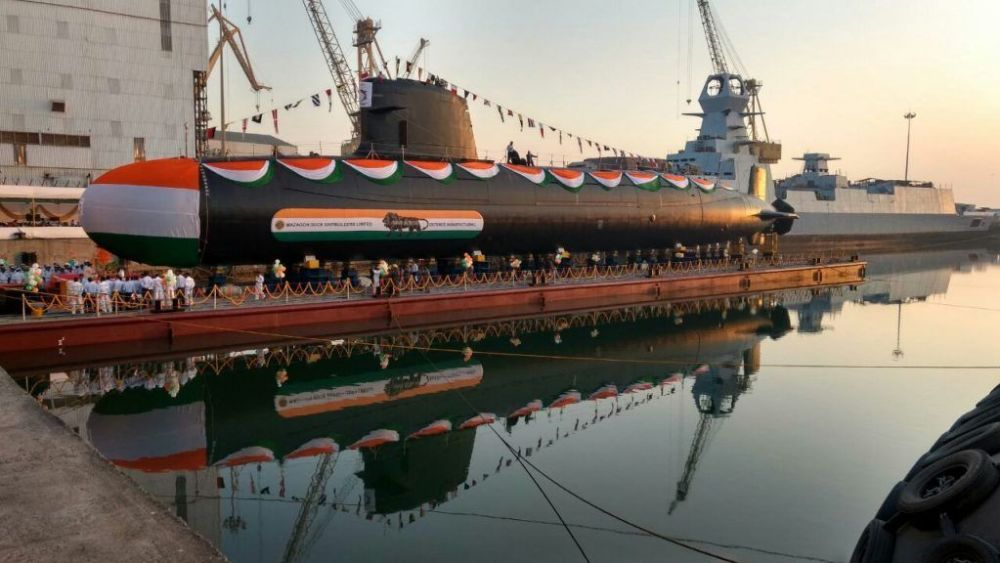 Indian Navy's second Scorpene class submarine 'INS Khanderi' launched at Mazgaon, Mumbai