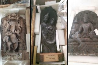 Some of the priceless sculptures that were recovered from the accused
