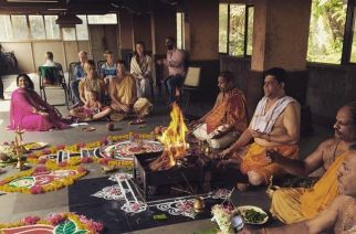 Rhodes along with his family at Pejawar Mutt temple in Santacruz, Mumbai