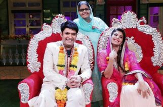 Kapil Sharma and his mother on the Kapil Sharma Show