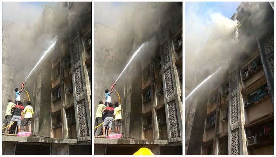 Major fire breaks out in residential building at 90 feet road in Dharavi, Mumbai
