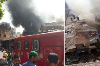 A fire broke out in one of the shops at Dongri Bazaar. Picture Courtesy: Altaf A