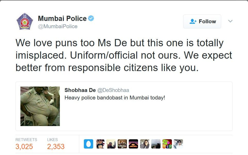 Twitterati slam author Shobhaa De for poking fun at overweight cop