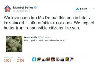 Mumbai Police's response to Shobha De on Twitter