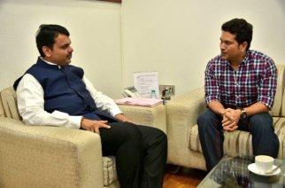 Maharashtra CM Devendra Fadnavis  with Sachin Tendulkar