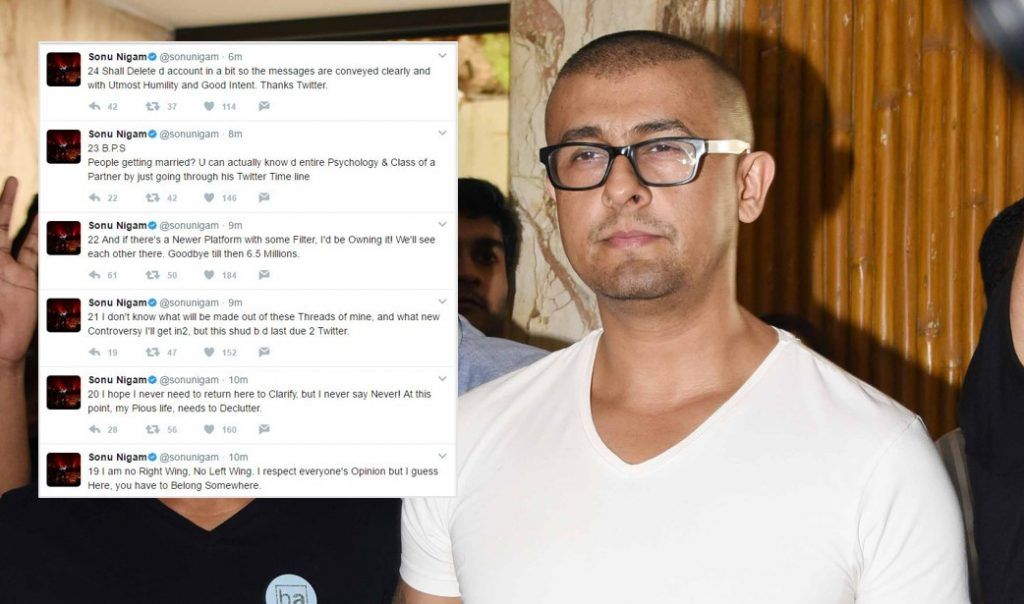 Quitting Twitter, says Sonu Nigam after Abhijeet Bhattacharya's account suspended