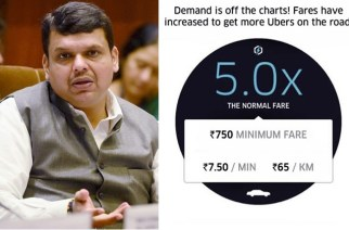 Maharashtra CM Devendra Fadnavis (left: Uber surge pricing)