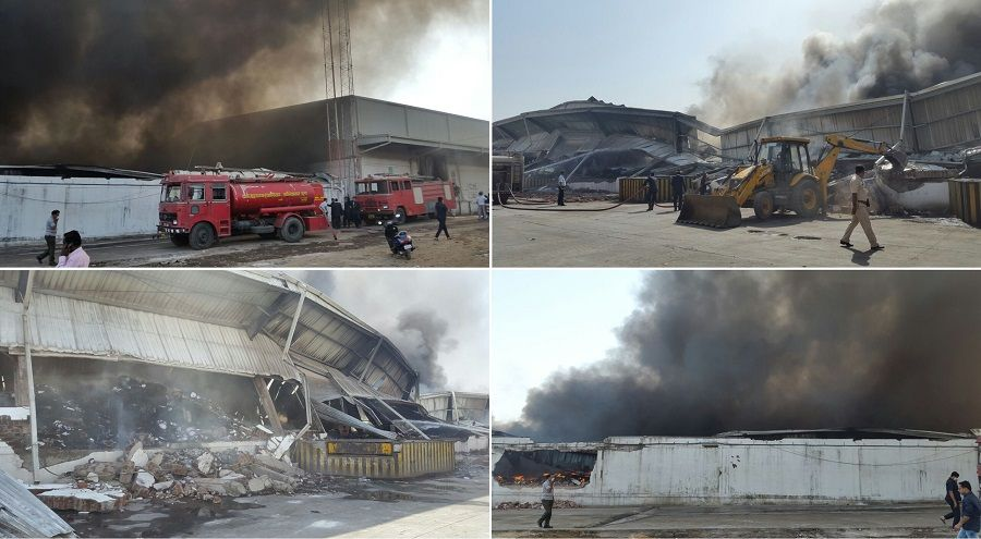 Video: Massive fire breaks out in Bhiwandi warehouse, goods worth lakhs destroyed