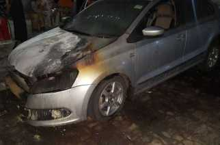 Rohit Mehra's Volkswagen Vento was completely gutted in the fire (Picture Courtesy: The Tribune)