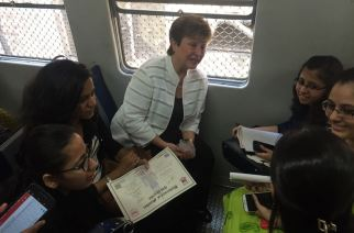 World Bank CEO Kristalina Georgieva travelling in a Mumbai local from Churchgate to Dadar