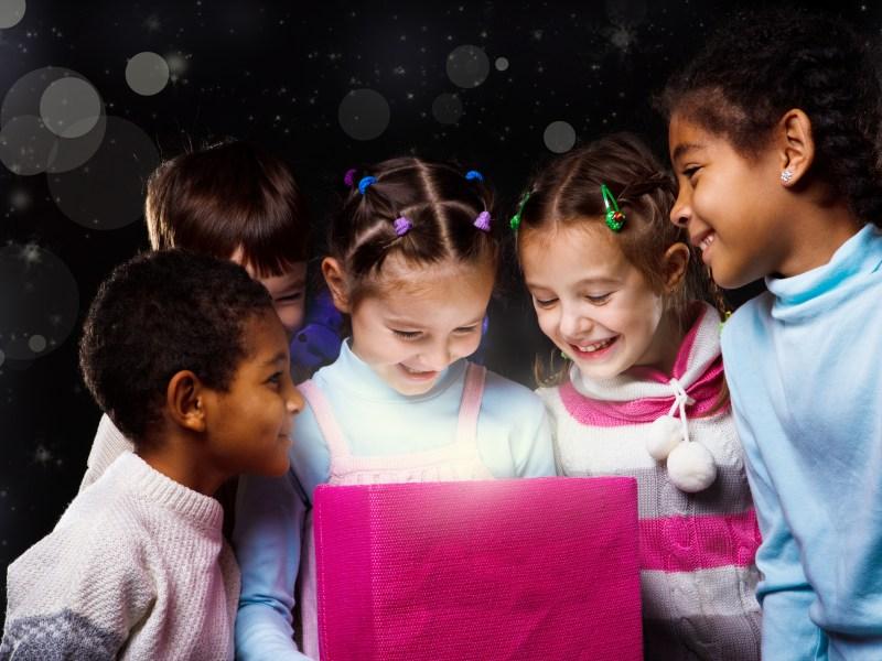 excited happy child children gift present