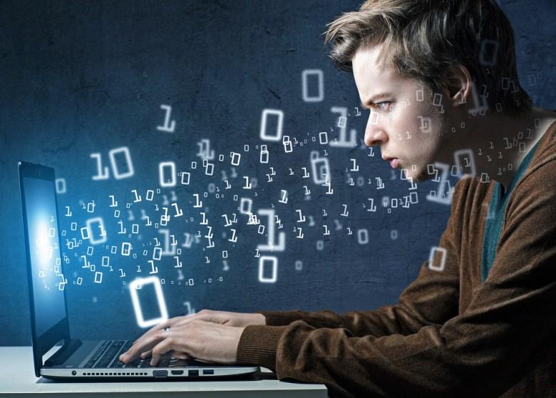 hacker computer code student boy