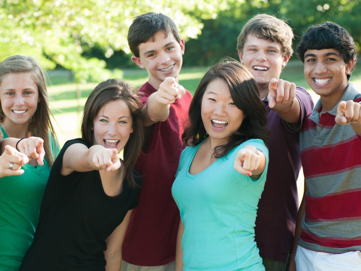 youth group teens interracial happy