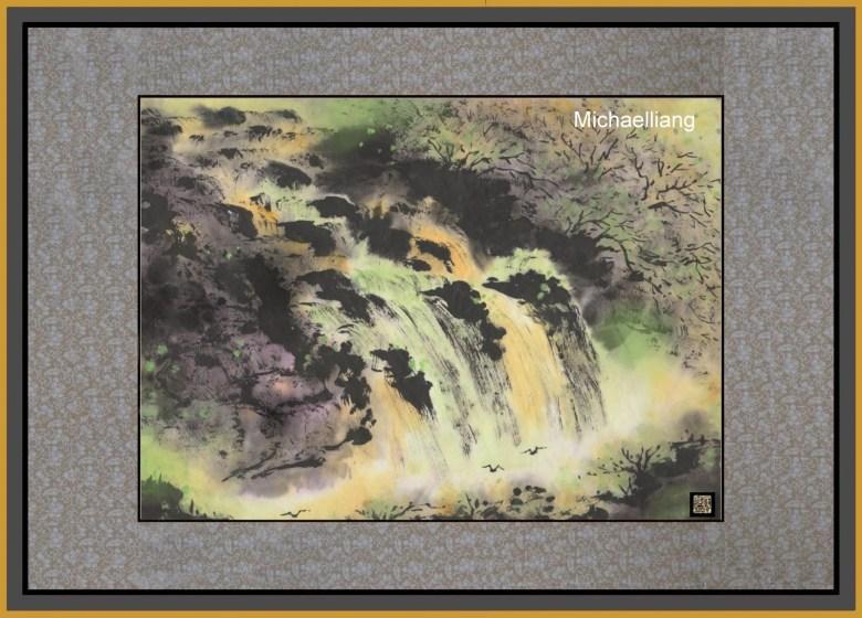 asian art green waterfall fall michael liang