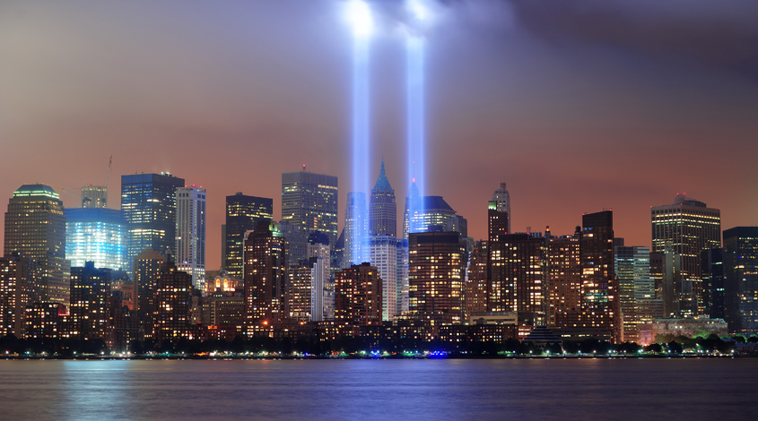 Twin Towers Lit Up at Night