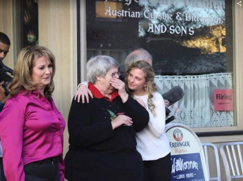 widow sally cohen is comforted by her granddaughter sophie perry, when she is overcome with emotion after the first glimpse of her husband's beloved truck., chevy c10, frisco, downtown plano