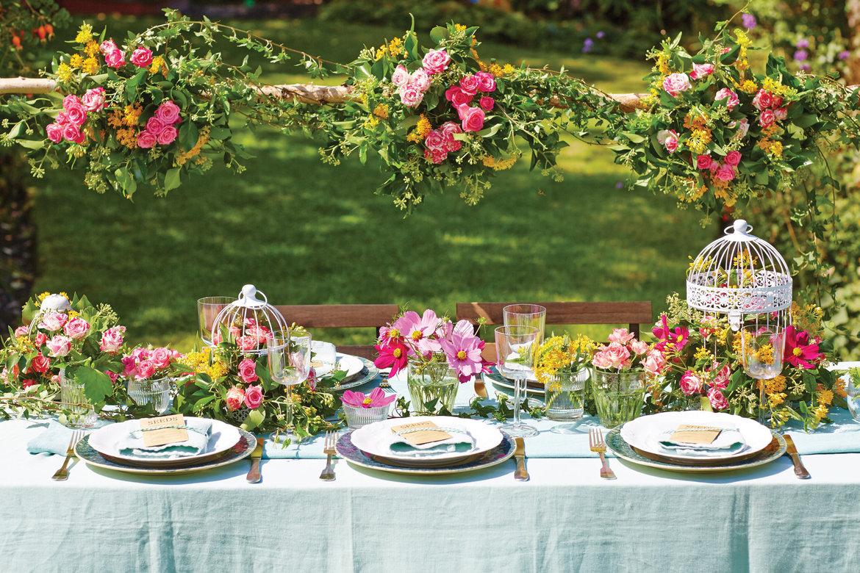 garden wedding theme table setting