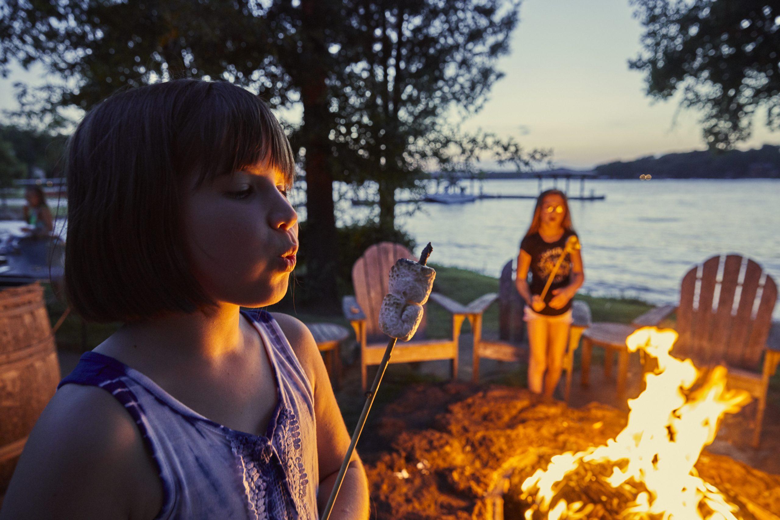 family at campfire