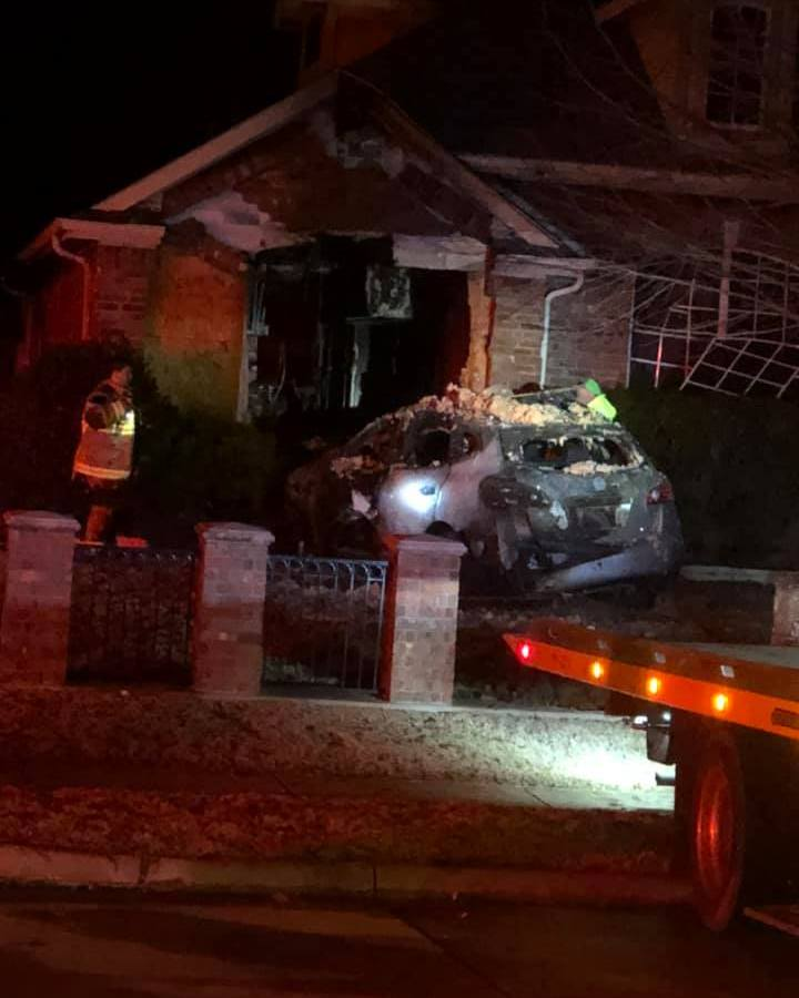 Murphy car hits house