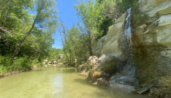 The waterfall at Frisco Limestone Quarry Park