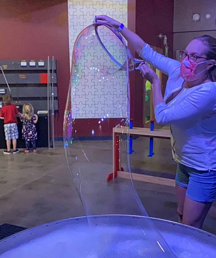 bubble station at sci-tech discovery center, frisco, texas. this is one of the best museums in the area for young kids.