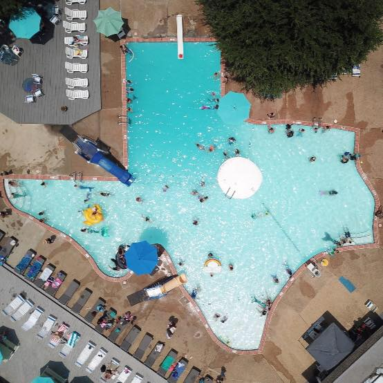 texas pool in plano is shaped like the great state of texas