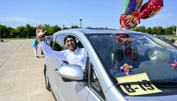 One of the 80+ teens who participated in the Plano Mayor's Summer Internship Program were celebrated during a drive-by parade