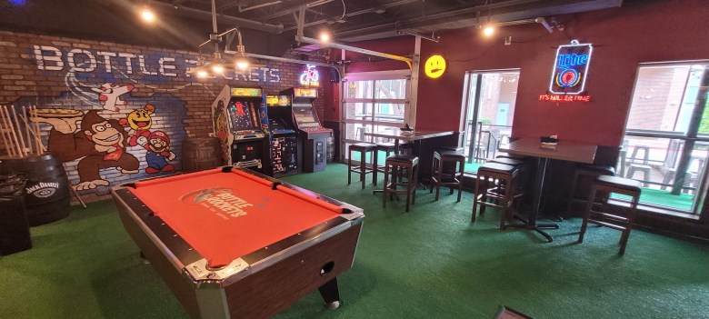 more games upstairs at bottle rockets.