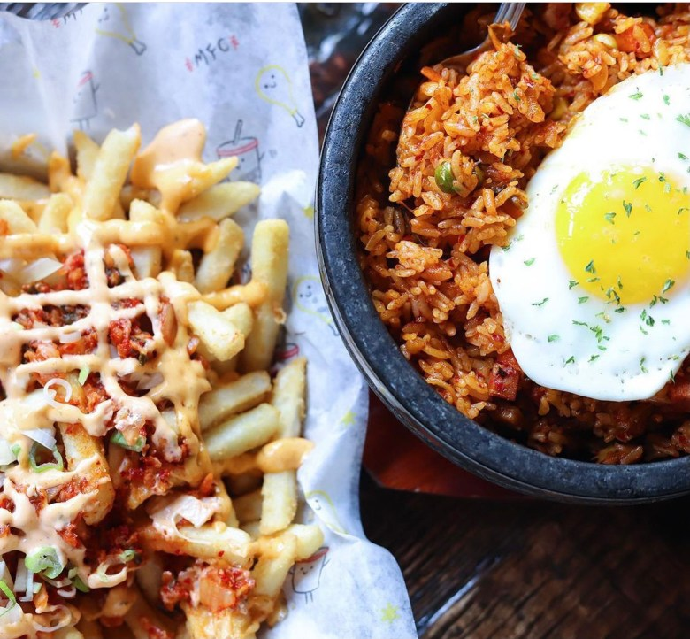 kimchi fries and kimchi fried rice? talk about a match made in heaven | via @madforchicken on instagram