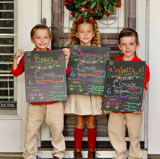the bennett triplets' first day of school photo! | courtesy of holly bennett