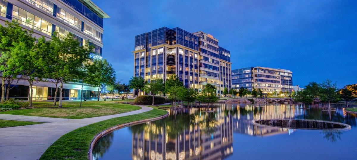 hall park's 162-acre office park contains 2.2 million square feet of office space. it's an ongoing real estate development project across the way from the star.   courtesy of hall group.