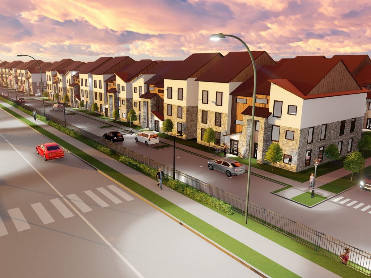 a glance at the townhouses alongside alma street, coming soon to collin creek | rendering courtesy of centurion american