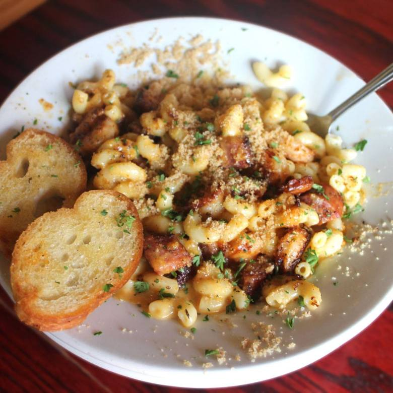 the blackened andouille sausage and shrimp mac & cheese from dodie's.   courtesy of dodie's cajun allen's facebook page.