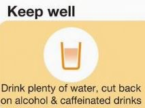 Keep well words above a glass of water reminding people to drink plenty of water and cut back on alcohol and caffeinated drinks