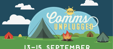 2018 logo with event dates 13-15 September and large blue tent, smaller tents and campfires