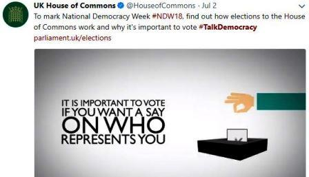 Tweet by the House of Commons featuring an infographic slide show