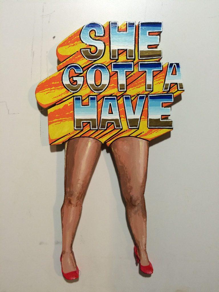"Augie W.K. - ""She gotta have legs"" (woodcut)"
