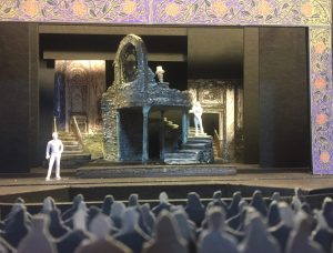 Scale model of the set design.