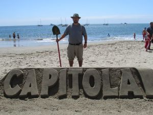 Bill Lewis and his sculpture for the 2016 sandcastle contest.