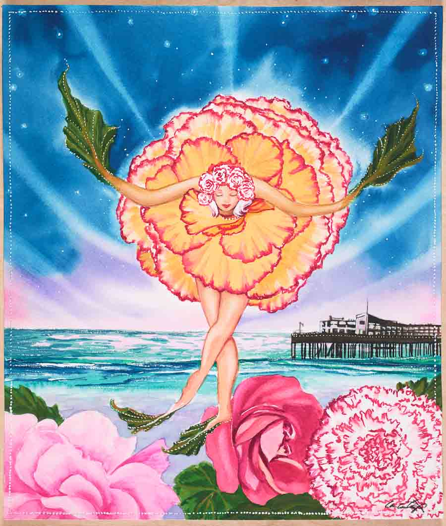 """Begonias Take a Bow!"" - 2017 Capitola Begonia Festival Poster, by local artist, Lori Ann Tharp ."