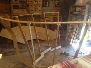 """Wooden frames for the 2017 float, """"Shipping Out to Sea"""". Built by Mark Hoagland for the Depot Hill Athletic Society."""