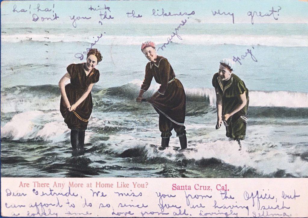 Women bathing in boots
