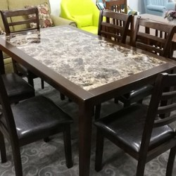 Mason Marble Pattern 1.53 Metre Dining Table & 6 Chairs