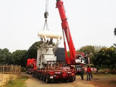transport et installation d'un transformateur de 75T à la CEB