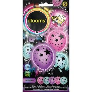 SACHET DE 5 BALLONS A LED ETOILES 3 COULEURS PASTEL 21 X 10.5 CM