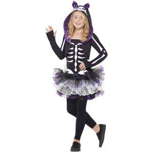 Costume enfant chat squelette noir et violet